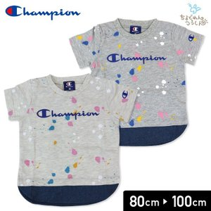 チャンピオン champion ベビー 子供服 半袖 Tシャツ ペイント柄 重ね着風 天竺 男の子 トップス 19夏|chil2