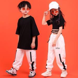 ヒップホップ キッズ ダンス衣装 男の子 ヒップホップ セットアップ 女の子 チアガール衣装 トップス 演出服 ダンスtシャツ パンツ|childeco