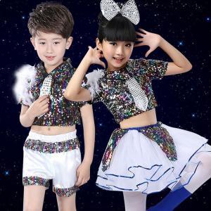 5点セット スパンコール衣装 女の子 男の子子供用 ダンスウェア ダンス衣装 スパンコール セットアップ 上下セット舞台用服|childeco