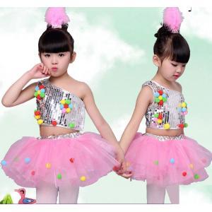 4点セット 子供用 ジャズダンス衣装 スパンコール衣装 女の子 ダンスウェア  スパンコール セットアップ 上下セット舞台用服|childeco