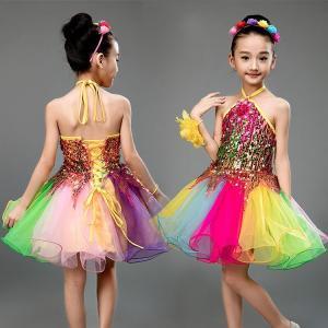 4点セットキッズ ダンス衣装 子供用 スパンコール衣装  ダンスウェア 女の子 マルチカラーワンピース  演出 チュールスカート合唱 発表会|childeco