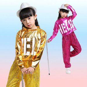 2点セットジャズダンス衣装  スパンコール衣装 女の子 男の子 ダンスウェア 子供用スパンコール セットアップ 上下セット舞台用服|childeco