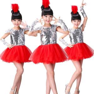 4点セット 子供 キッズ ジャズ ダンス衣装 スパンコール 衣装  女の子 ダンスウェア スパンコール チュチュ チュール ガールズ|childeco