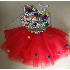女の子 ダンスウェア子供用ジャズダンス衣装スパンコール衣装   スパンコールドレス舞台用服ダンス用スパンコール服チュール|childeco