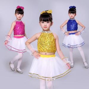 子供 ダンスウェア ダンス衣装 女の子 子供 ジャズダンス衣装 スパンコール衣装  スパンコール ドレス 舞台用 ダンス スパンコール チュール|childeco