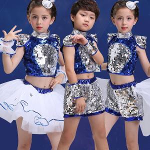 子供 キッズ 女の子 男の子 ジャズ ダンス衣装 ダンスウェア スパンコール チュールスカート 発表会  ジュニア チア チアガール 演出服|childeco