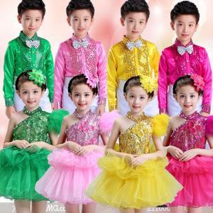 子供用 キッズ ダンスウェア ジャズ ダンス衣装 スパンコール衣装 女の子 男の子 ワンピース ダンスウェア 合唱 発表会 チュールスカート|childeco