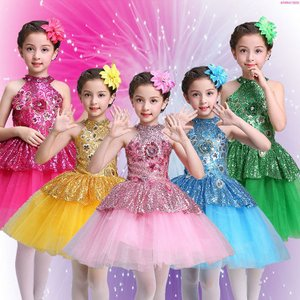 子供用 キッズ ダンスウェア スパンコール衣装 ジャズ ダンス衣装  女の子  ワンピース ダンスウェア 合唱 発表会 チュールスカート|childeco