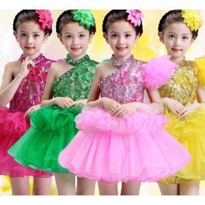 ダンス衣装 子供用 キッズ ダンスウェア スパンコール衣装   女の子 チュールスカート ワンピース ジャズダンスウェア 合唱 発表会|childeco