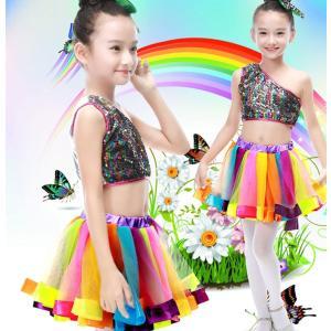 ダンスウェア3点セット 子供用 キッズ ダンス衣装   スパンコール衣装 女の子 チュールスカート ワンピース ジャズダンスウェア 合唱 発表会 プリーツスカート|childeco