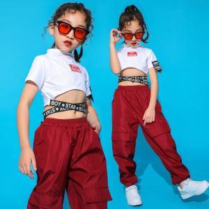 へそ出し ダンス衣装 セットアップ キッズ ダンス衣装 ヒップホップ キッズ 半袖 ダンス tシャツ ダンスパンツ ロングパンツ ヒップホップ衣装 女の子|childeco
