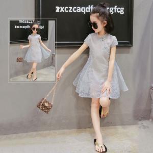キッズ ドレス 子供 女の子 ワンピース ジュニア 半袖 チャイナドレス 女の子 チャイナワンピース カジュアル シンプル 夏 子供服|childeco
