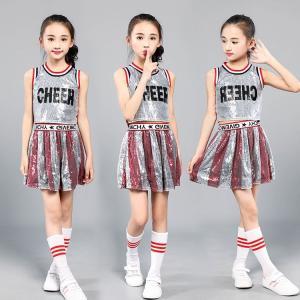 女の子 子供 チアガール衣装  子供  キッズ ダンスウェア スパンコール ダンス衣装 セットアップ 上下セット ジュニア 発表会 チアダンス おしゃれ|childeco