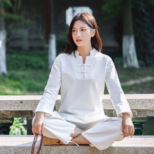 太極拳服 ヨガ 女性 レディス 長袖 7分袖 瞑想 練習服 定番 綿麻 送料無料 春夏