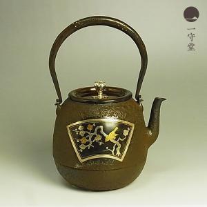 高陵金寿堂 棗形 鉄瓶 梅鶯・竹雀図金銀象嵌 1500ml is|chinagrand