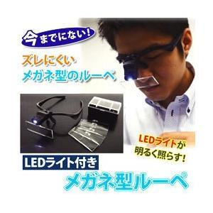 LEDライト付き メガネ型ルーペ 拡大鏡 照明付き 眼鏡型 ずれにくい めがね型 工作 ホビー 読書 手芸 chinatea