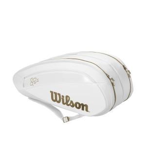 在庫品 ウイルソン ラケットバッグ フェデラー DNA 12パック ホワイト/ゴールド WR8004...