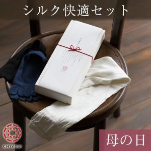 【遅れてごめんね母の日・特製ギフト箱付き】 絹紡糸使用 シルク快適セット  アームウォーマー シルク 靴下 五本指靴下|chiyoji