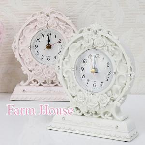ローズレリーフ 薔薇柄置き時計 ピンクとホワイトの2色 サイズ:W12.8×D4.6×H15.1cm...