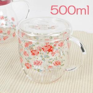 耐熱ガラス ハーブティーマグ 茶こし付き おしゃれ 猫柄と花柄の耐熱マグ 薔薇雑貨 選べる4種