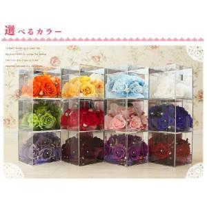 プリザーブドフラワー 12色の3面ミラーBOX キューブアレンジ|chloris-flower
