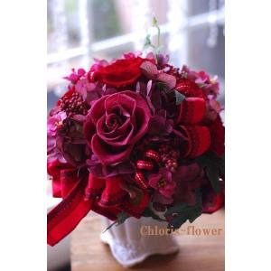 還暦祝い プリザーブドフラワー 赤いボール型 プリBOX入り|chloris-flower