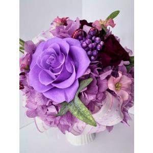 花 ギフト プリザーブドフラワー 古希/喜寿/傘寿/卒寿/誕生日 紫の薔薇 パープルのボール型 ケース入り|chloris-flower