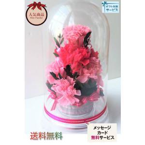 カーネーション プリザーブドフラワー ピンクカーネ ドームアレンジ |chloris-flower