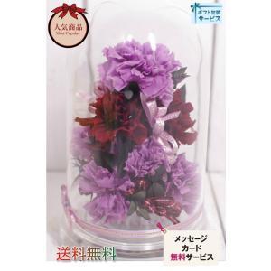 紫 カーネーション プリザーブドフラワー  パープルカーネ ドームアレンジ|chloris-flower