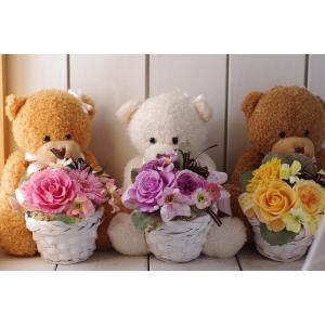 花ギフト  プリザーブドフラワー&ベア ぬいぐるみ&選べるフラワーバスケット|chloris-flower