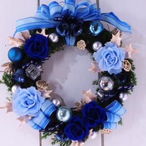 クリスマスリース 青い薔薇 プリザーブドフラワーリース|chloris-flower