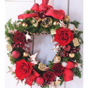クリスマスリース 赤い薔薇 プリザーブドフラワーリース|chloris-flower