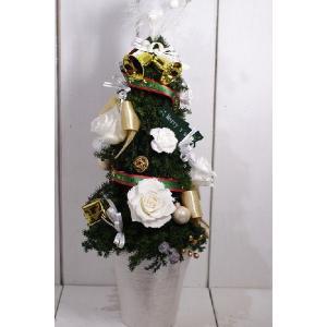 白い薔薇 クリスマスツリー プリザーブドフラワーツリー|chloris-flower