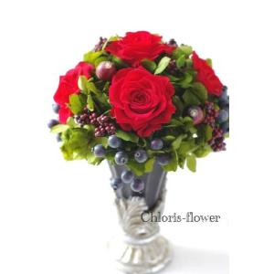還暦祝い プリザーブドフラワー 赤い薔薇ラウンド  ケース入り |chloris-flower