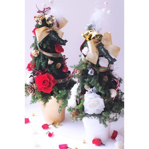 クリスマスツリー プリザーブドフラワーツリー 2種類 |chloris-flower