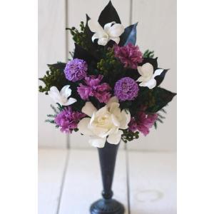 お仏壇 お供え 仏花 プリザーブドフラワー 紫 ダリアとガーデニア chloris-flower