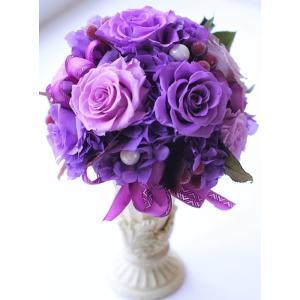 古希/喜寿/誕生日 プリザーブドフラワー 紫の薔薇 エレガントなラウンド ケース入りギフト|chloris-flower