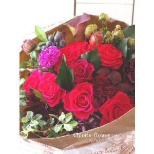 お祝い花束 還暦祝い花 真っ赤な花束 プリザーブドフラワー花束|chloris-flower