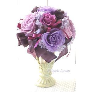 古希/喜寿/誕生日/開店祝い プリザーブドフラワー エレガントなパープルラウンド ケース入り 紫薔薇 |chloris-flower