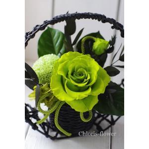 和風 プリザーブドフラワー 緑 卑弥呼A chloris-flower