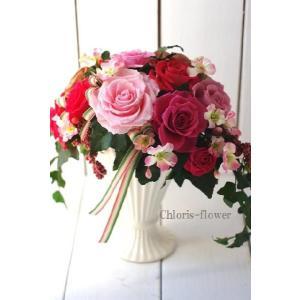 開店祝い 開業祝い 昇進祝い 誕生日プレゼント プリザーブドフラワー ピンクの薔薇 プリティープリザB |chloris-flower