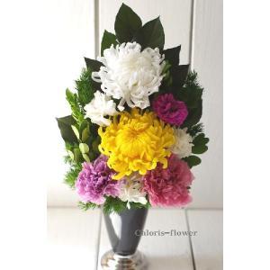 お仏壇 お供え花 仏花  菊2輪とカーネ 枯れないプリザーブドフラワー chloris-flower