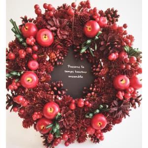 リースクリスマス飾り 木の実アップルリボンリース32センチLLサイズ 大ドライリース|chloris-flower