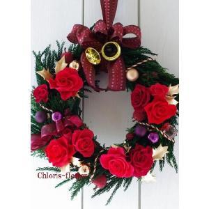 クリスマスリース  中 薔薇のプリザーブドフラワーリース|chloris-flower