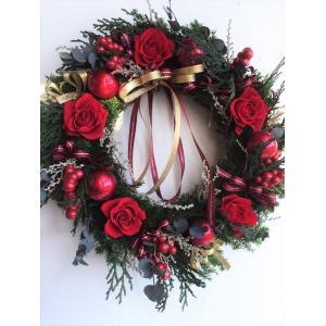 クリスマスリース 赤い薔薇のヒムロスギ プリザーブドフラワーリース|chloris-flower