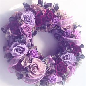 リース 結婚祝い 開店祝い プリザーブドフラワーリース 通年飾れるお洒落な特大リース ラベンダー色|chloris-flower