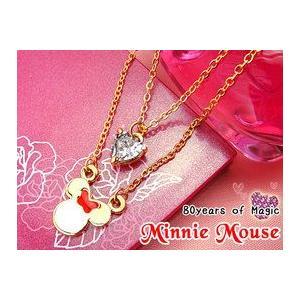 誕生日プレゼント 一輪の薔薇&ディズニー 80周年 2連 ミニー ネックレス(ゴールド)|chloris-flower