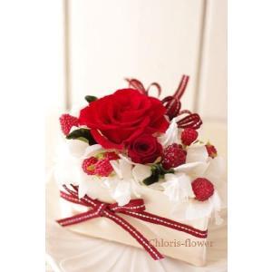 フラワーケーキ プリザーブドフラワー  薔薇のショートケーキ|chloris-flower