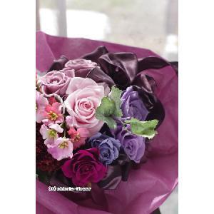 プロボーズに残せる花束 プリザーブドフラワー花束 エレガントパープル 紫の花束|chloris-flower