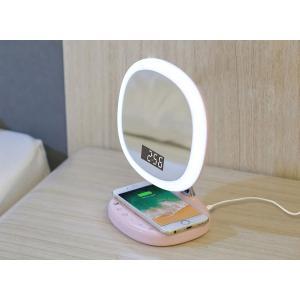 【LEDデスクライト 化粧ミラー 送料無料】音色8種類の目覚まし時計(スヌーズ機能) 温度計 USB充電 コードレス LED お化粧 メイク【D7C ピンク】|chobt